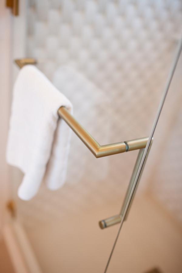 Brushed Brass Shower Door towel bar