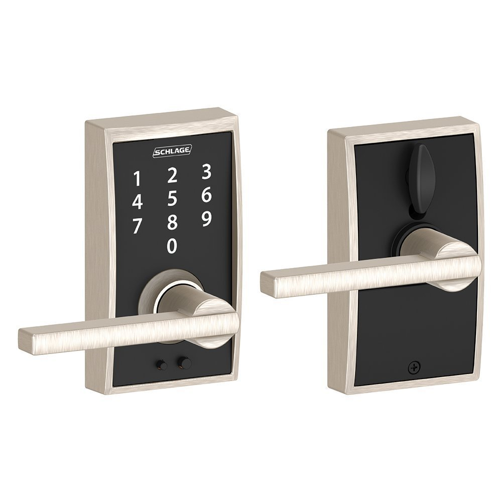 ELECTRIC CENTURY LOCK WITH LATITUDE LEVER IN SATIN NICKEL